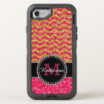 Gold & Pink Glitter Chevron Personalized Defender Otterbox Defender Iphone 8/7 Case at Zazzle