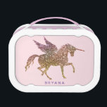 """Gold Pink Glitter Flying Unicorn Personalized Lunch Box<br><div class=""""desc"""">personalize with a name if you want or delete the text.ff</div>"""