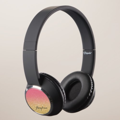 Gold Pink Glitter Ombre Personalized Headphones