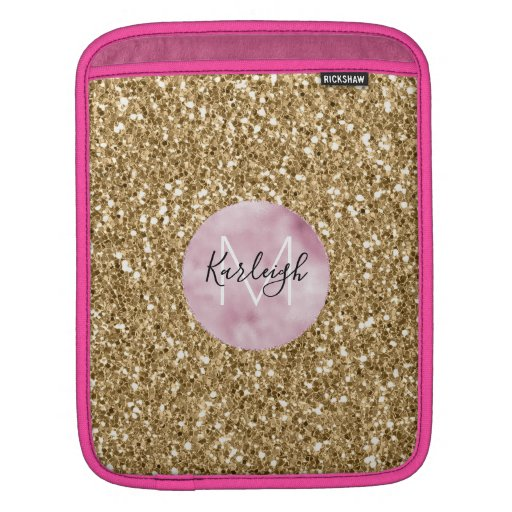 Gold Pink Glitzy Glitter Monogram personalized iPad Sleeve