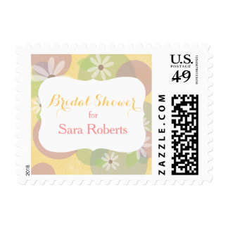 Gold, Pink & Green & White Daisies Bridal Shower Postage