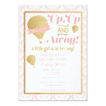 Gold Pink Hot Air Balloon Baby Shower Invitation
