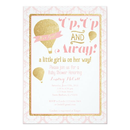 Gold pink hot air balloon baby shower invitation zazzle gold pink hot air balloon baby shower invitation filmwisefo