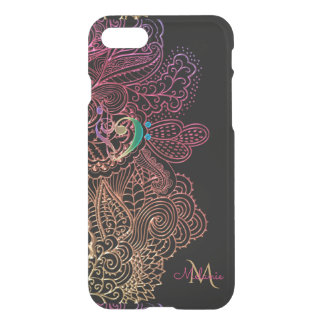 Gold Pink Lace Music Heart Monogram iPhone 7 Case