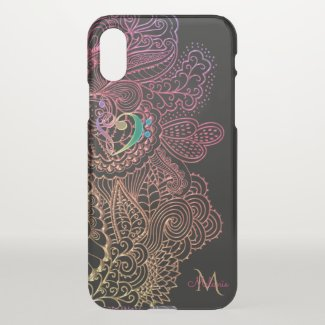 Gold Pink Lace Music Heart Monogram iPhone X Case