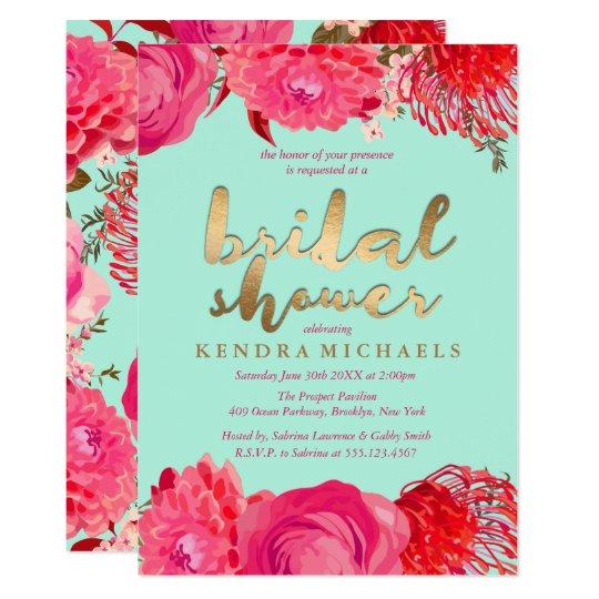 gold pink mint floral bridal shower invitations
