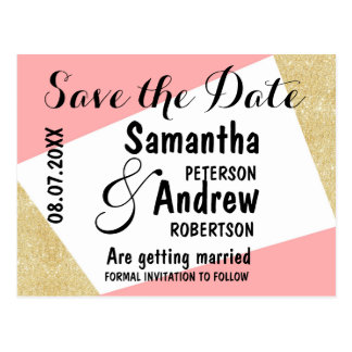 Gold pink modern color block save the date postcard