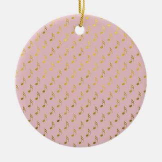 Gold Pink Musical Notes Metallic Faux Foil Ceramic Ornament
