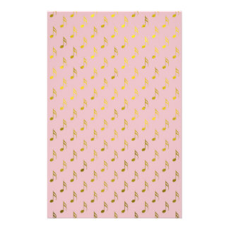 Gold Pink Musical Notes Metallic Faux Foil Stationery