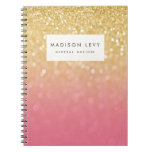 Gold Pink Ombre Glitter Personalized Notebook