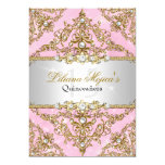 Gold & Pink Pearl Damask Quinceanera Invite