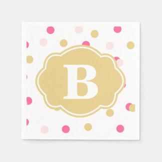 Gold Pink Polka Dot Monogram Napkins