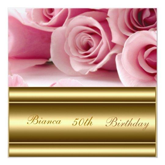 Gold pink Popular Elegant 50th Birthday Invitation