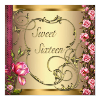 "Gold Pink Rose Sweet Sixteen Birthday Party 5.25"" Square Invitation Card"