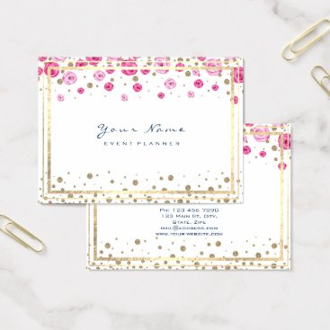Beach Themed Gold Pink Roses Confetti Pink Sapphire Blue Lux Business Card