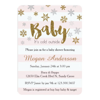Gold Pink Snowflakes Baby Shower Invitations