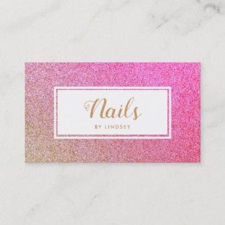 Gold Pink Sparkle Glitter Nail Artist Business Card