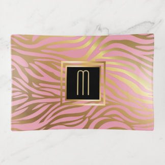 Gold Pink Stripe Elegance Monogram Trinket Trays