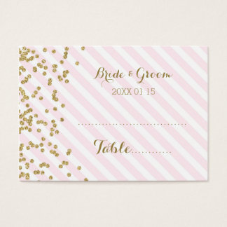 Gold Pink Stripe Wedding Table Place Setting Cards