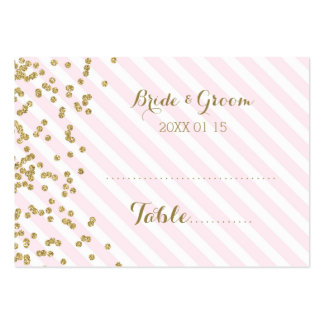 Gold Pink Stripe Wedding Table Place Setting Cards Large Business Card
