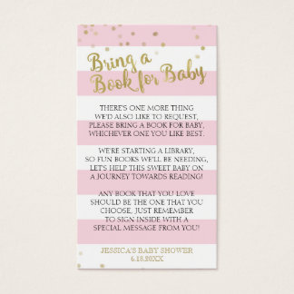 Gold Pink Stripes Baby Shower Bring a Book Insert