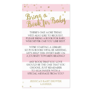 Gold Pink Stripes Baby Shower Bring a Book Insert Business Card