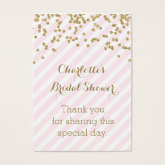 Gold Pink Stripes Bridal Shower Favor Tags at Zazzle