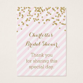 Gold Pink Stripes Bridal Shower Favor Tags