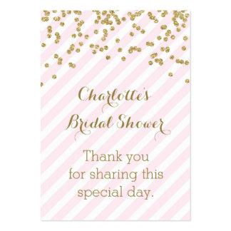 Gold Pink Stripes Bridal Shower Favor Tags Large Business Card