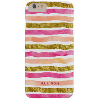 Gold Pink Stripes Name iPhone 6/6s Plus Case