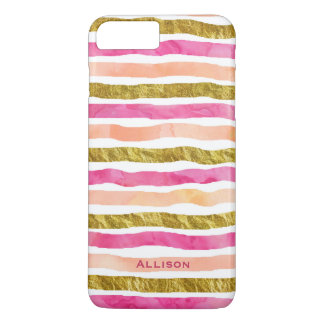Gold Pink Stripes Name iPhone 7 Plus Case