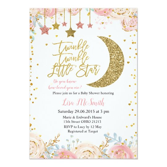 Gold Pink Le Little Star Baby Shower Invitation