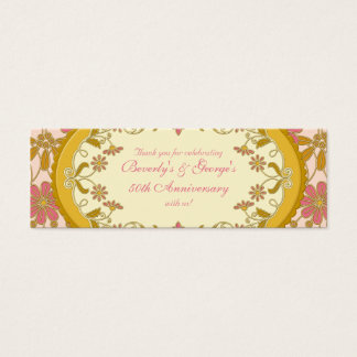 Gold Pink Victorian Daisy Floral Favour Tags