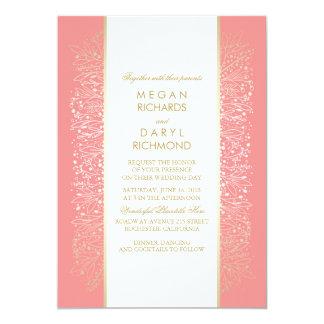 Gold Pink Vintage Floral - Botanical Wedding Card
