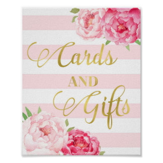 Gold Pink Watercolor Floral Cards Gifts Sign Poster