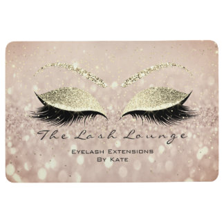 Gold Pink White Makeup Glitter Lashes Beauty Eyes Floor Mat