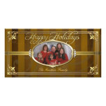 Gold Pinstripe Golden Faux Jewel Photo Cards