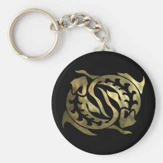 Gold Pisces Fish Keychain
