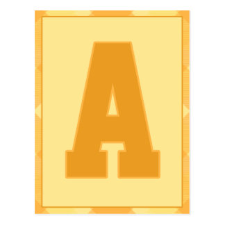 """Gold Plaid Letter """"A"""" Typography Banner Card"""