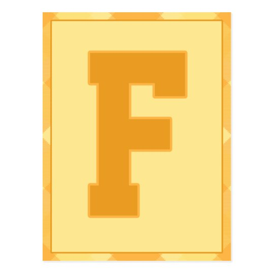 """Gold Plaid Letter """"F"""" Typography Banner Card"""