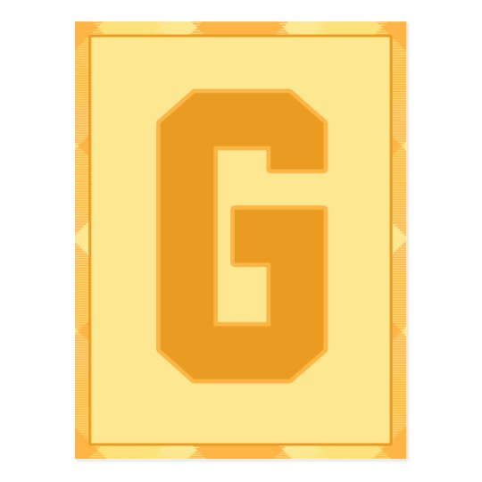 """Gold Plaid Letter """"G"""" Typography Banner Card"""