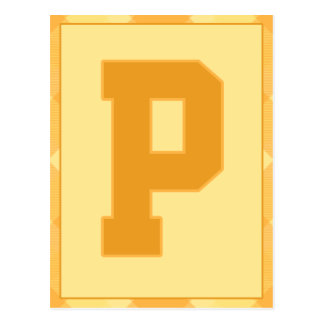 """Gold Plaid Letter """"P"""" Typography Banner Card"""