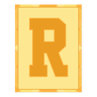 """Gold Plaid Letter """"R"""" Typography Banner Card"""