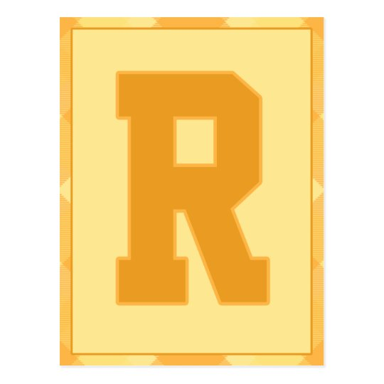 "Gold Plaid Letter ""R"" Typography Banner Card"