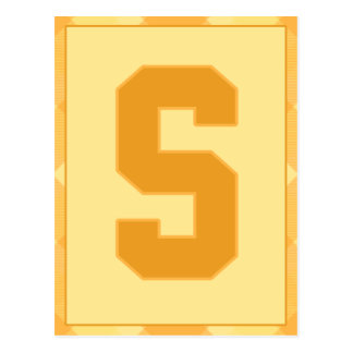 """Gold Plaid Letter """"S"""" Typography Banner Card"""