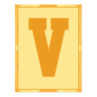 "Gold Plaid Letter ""V"" Typography Banner Card"