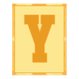 """Gold Plaid Letter """"Y"""" Typography Banner Card"""