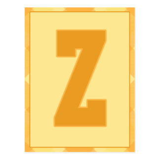 """Gold Plaid Letter """"Z"""" Typography Banner Card"""