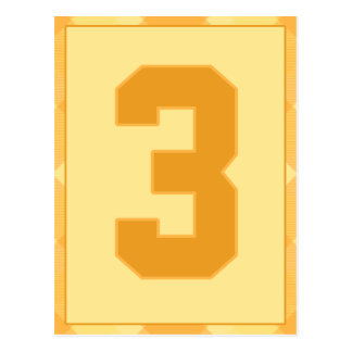 Gold Plaid Number 3 Typography Banner Card