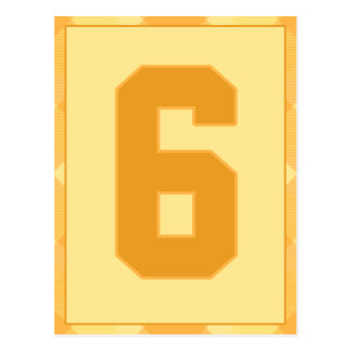 Gold Plaid Number 6 Typography Banner Card